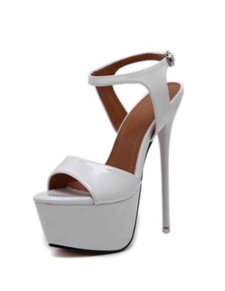 Milanoo Red Sexy Shoes Stiletto Heel Peep Toe Platform Sandals For Women