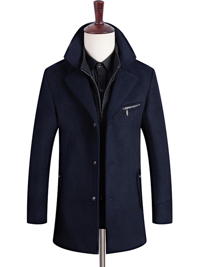 Ericdress Plain Zipper Button Mens Winter Wool Coat