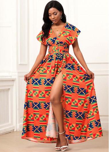 Cocktail Party Dress Slit Hem Multi Wear Geometric Print Maxi Dress - XL