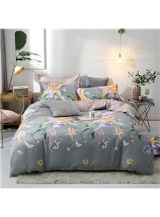 Purple Morning Glories Printed 4-Piece Bedding Sets/Duvet Covers