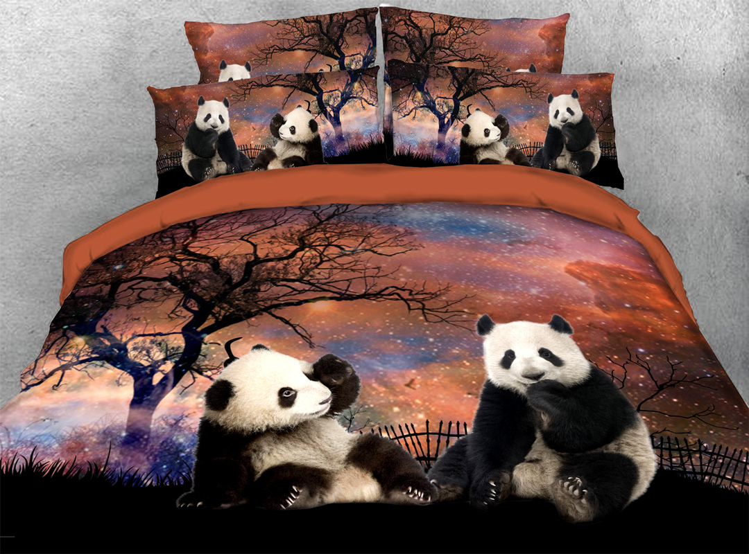 Panda at Starry Night 3D Animal Zipper 4pcs Bedding Sets No-fading Soft Reactive Printing Duvet Cover with Ties