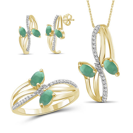 Diamond Accent Genuine Green Emerald 14K Gold Over Silver 3-pc. Jewelry Set, 8 , No Color Family
