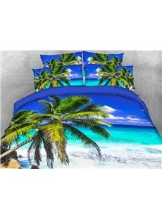 Hawaiian Beach And Coconut Trees 3D Printed 4-Piece Polyester Bedding Sets/Duvet Covers