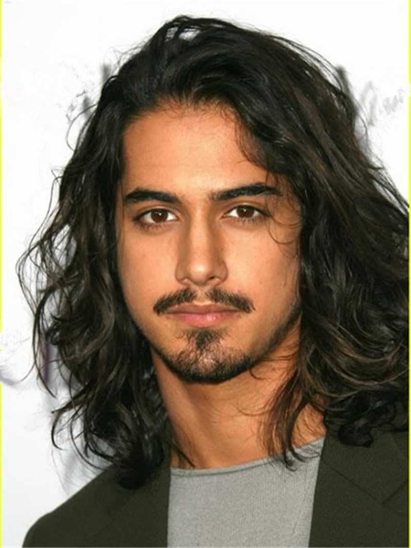 Ericdress Shoulder Length Wavy Human Hair Lace Front Men Wig