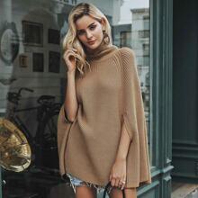 Turtle Neck Poncho Sweater