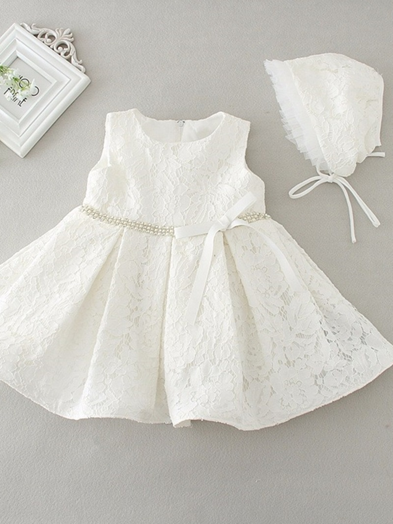 Ericdress Bowknot Beading Lace Baby Girl's Christening Dress