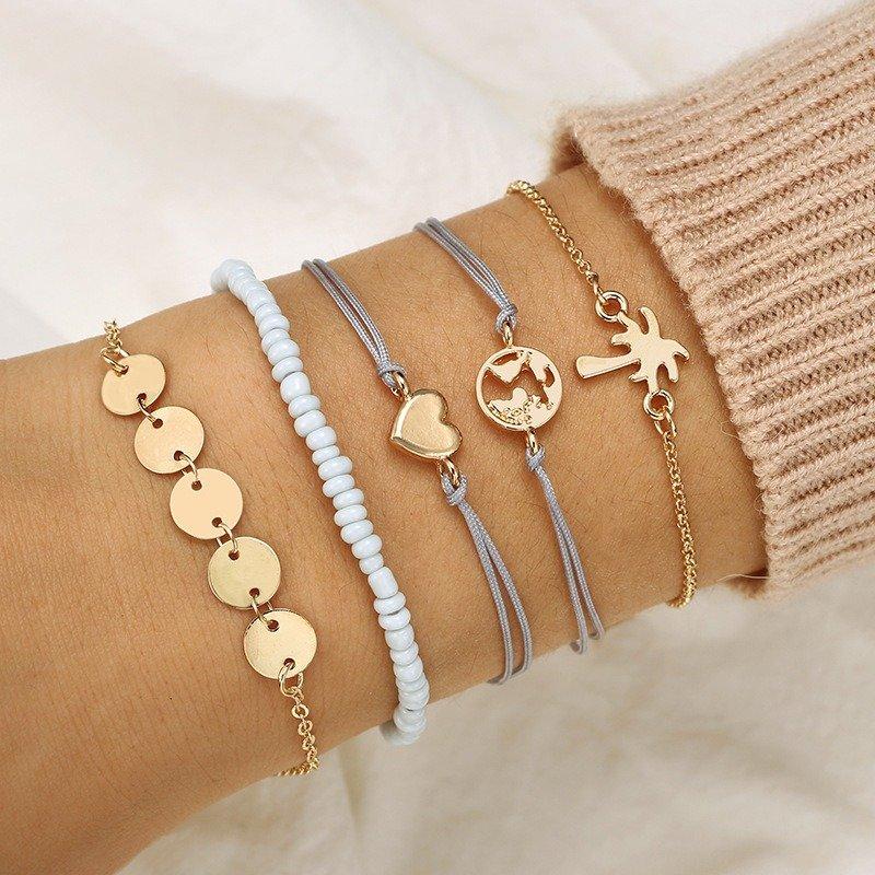 Bohemian Weave Bracelet Set 5 Piece Rice Beaded Bracelet Coconut Tree Love Bracelet For Women