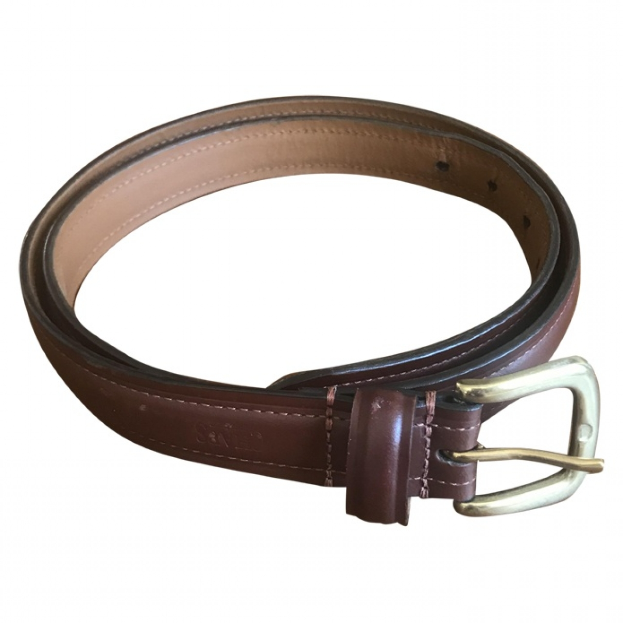 Non Signé / Unsigned \N Camel Leather belt for Men 95 cm