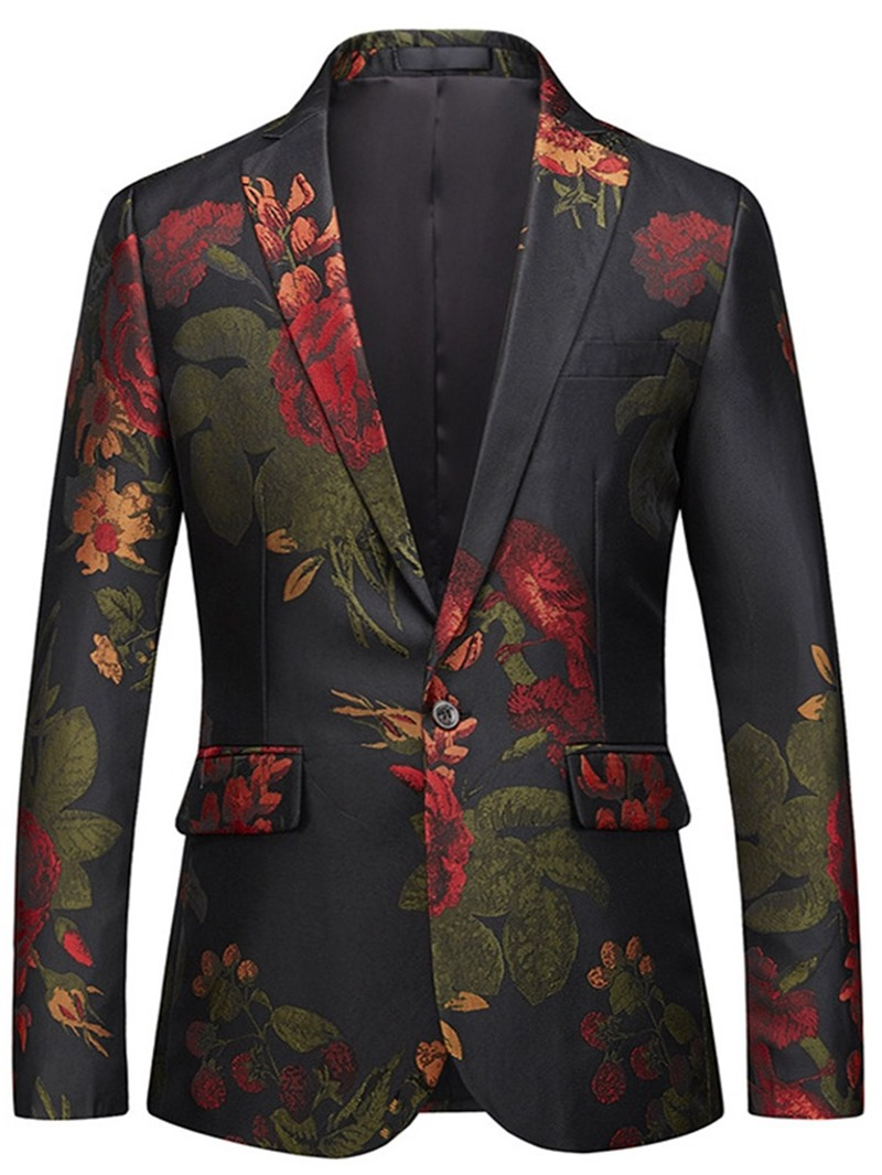 Ericdress Floral Print One Button Notched Lapel Mens Casual Ball Blazer