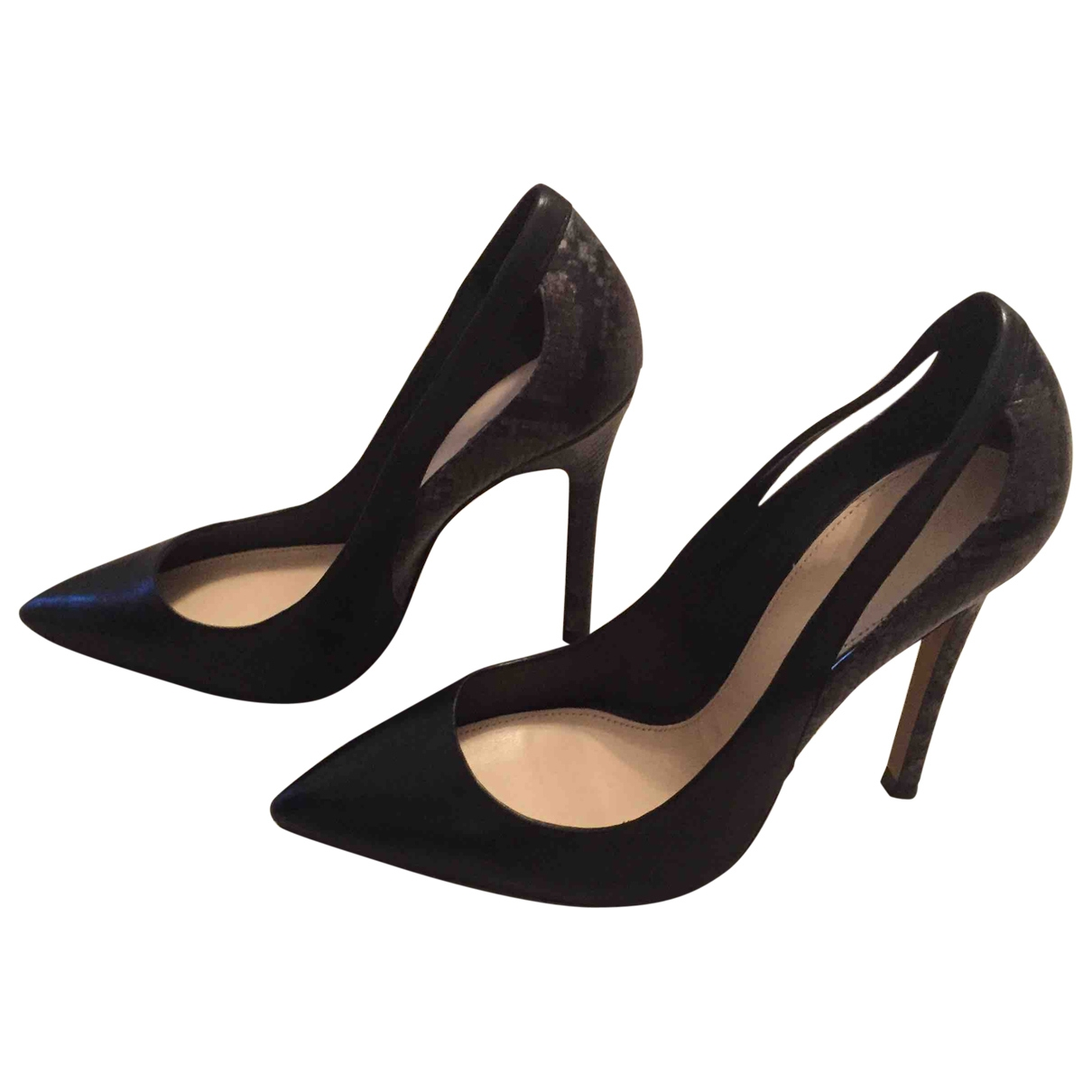 Zara \N Black Leather Heels for Women 40 EU