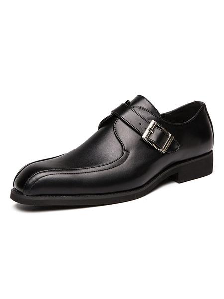 Milanoo Man\'s Dress Shoes Stylish Square Toe Slip-On PU Leather Buckle Shoes