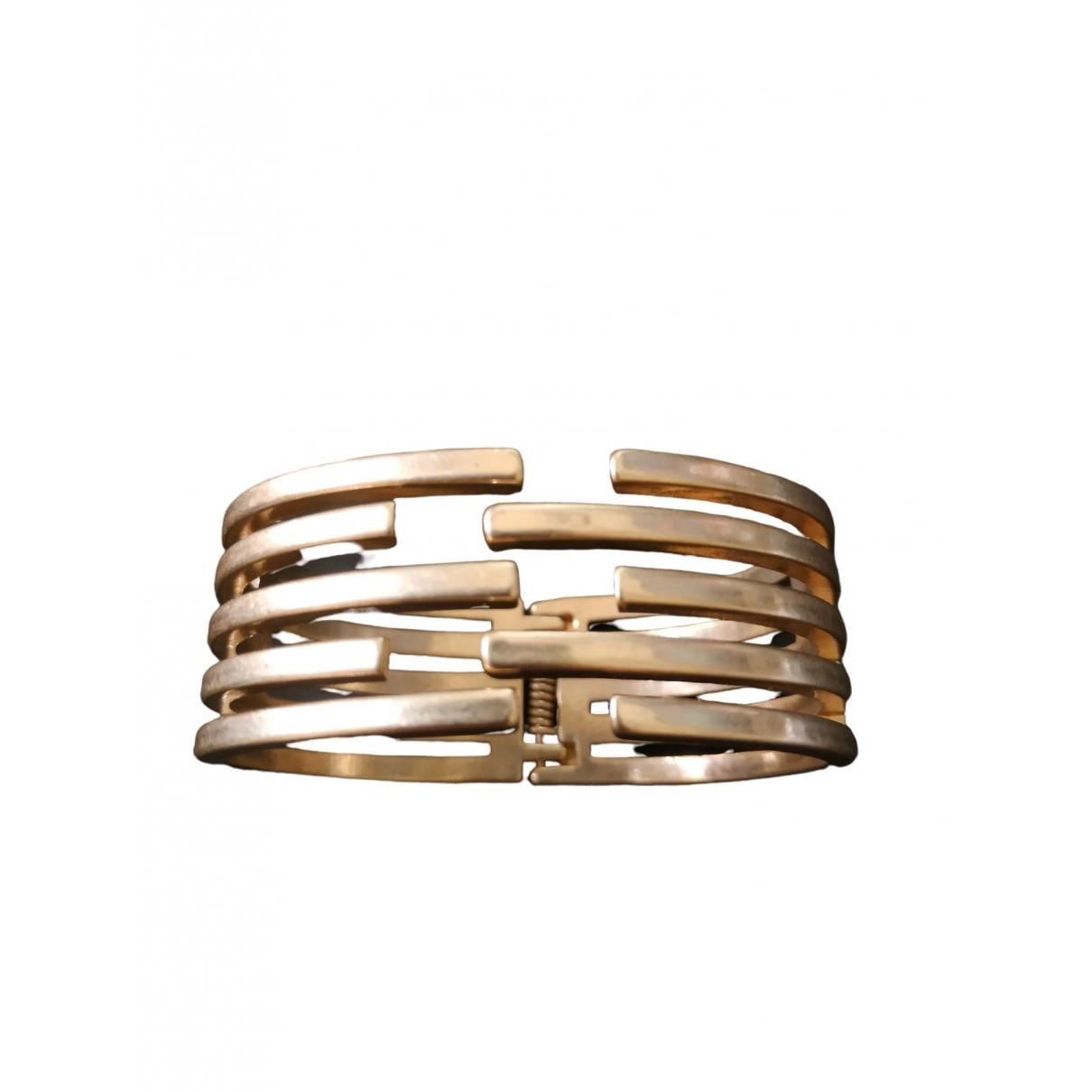 Non Signé / Unsigned Manchette Gold Metal bracelet for Women \N