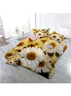 White Daisy Wear-resistant Breathable High Quality 60s Cotton 4-Piece 3D Bedding Sets