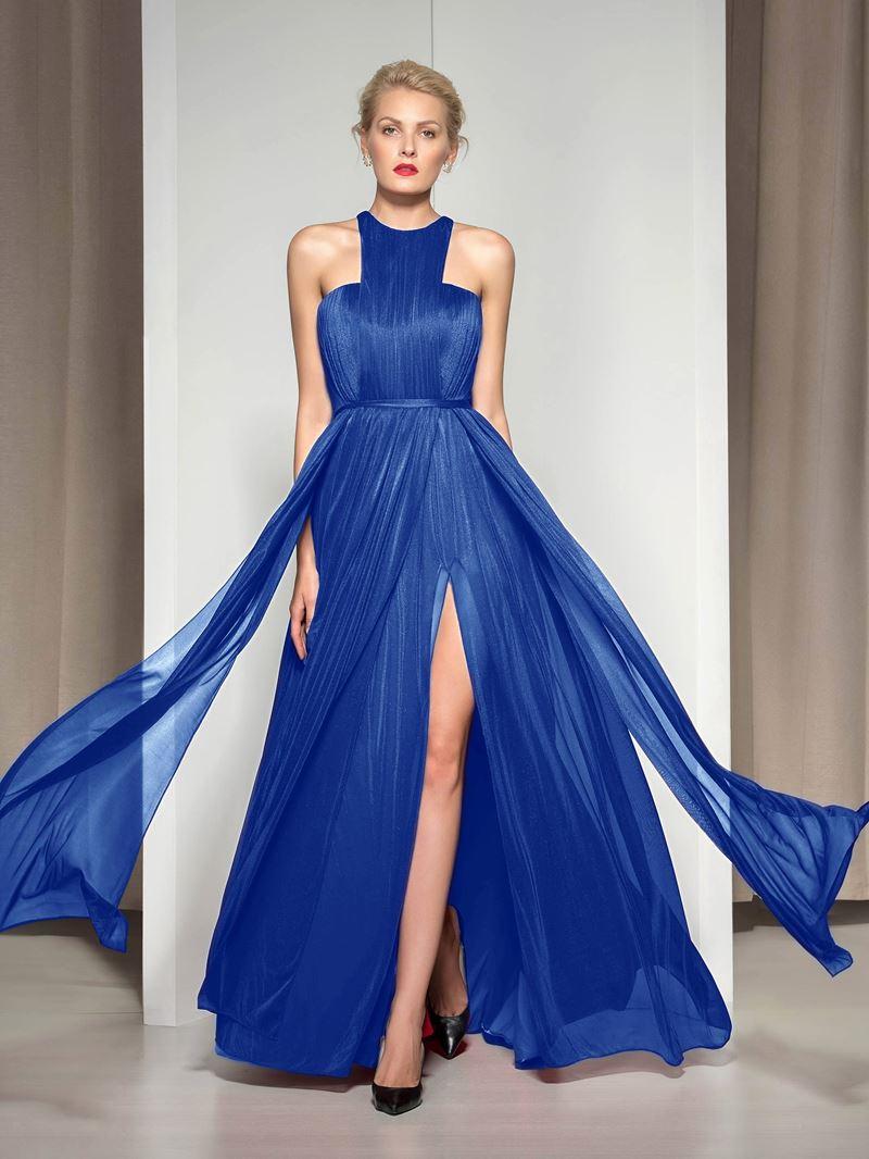 Ericdress Halter Pleats Front-Split Evening Dress