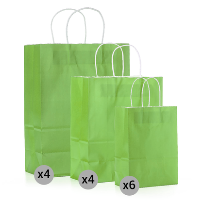 Gift Kraft Paper Bag Set of 14 Pieces, Small, Medium, Large Size, Green - LIVINGbasics™