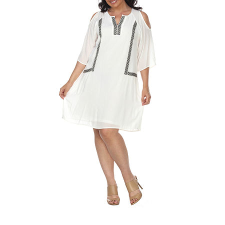 White Mark-Plus 3/4 Sleeve Embroidered Shift Dress, 2x , White