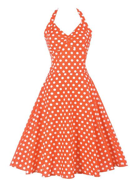 Milanoo Summer Midi Dress Pink Polka Dot Vintage Dress Halter Lace Up Sweetheart Swing Dress
