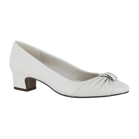 Easy Street Womens Eloise Pumps Block Heel, 10 Medium, White
