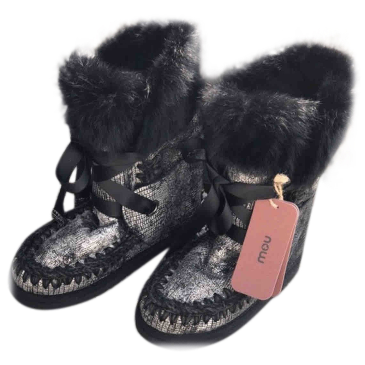 Mou \N Black Fur Boots for Women 37 EU