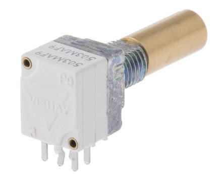 Vishay 2 Gang Rotary Conductive Plastic Potentiometer with a 6 mm Dia. Shaft, 50kΩ, ±20%, 0.05W, Linear