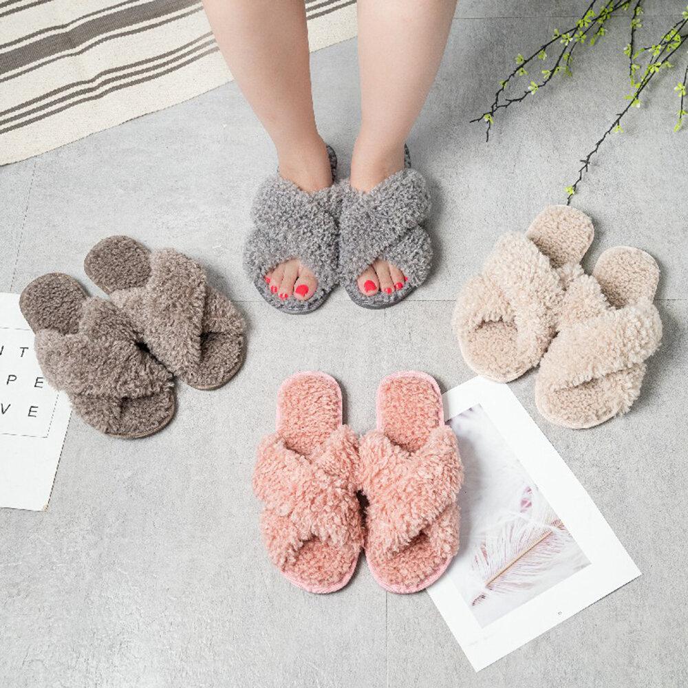 Women's Solid Color Cross Belt Winter Home Plush Slippers
