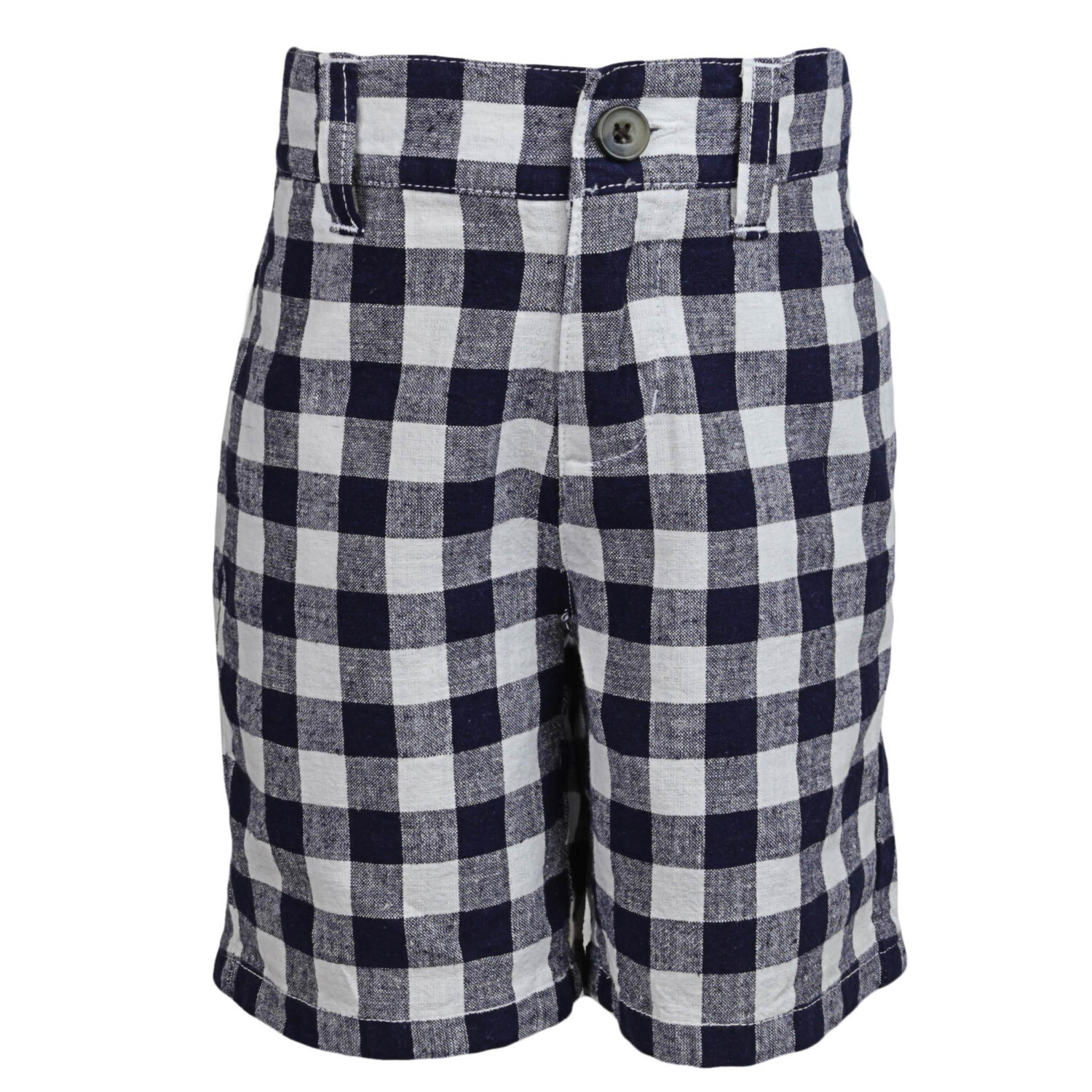 Janie And Jack Navy / White Gingham Linen Short - 4