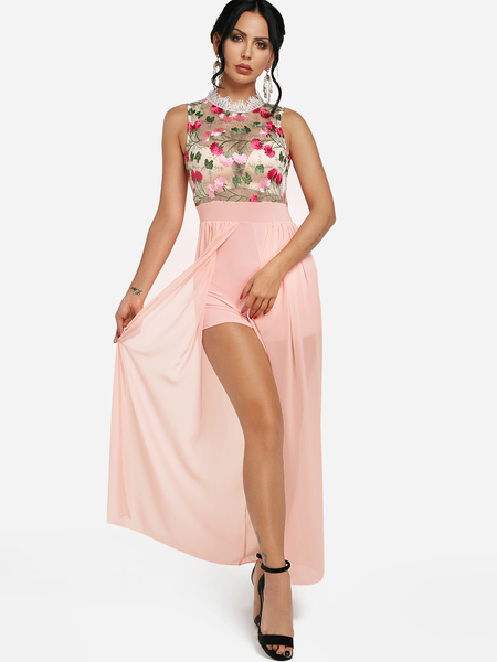 Yoins Pink See-through Embroidered Mesh Lace Trim Maxi Romper