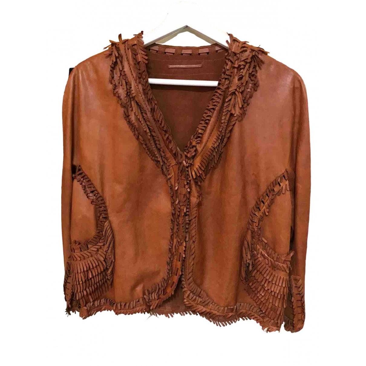 Ermanno Scervino \N Brown Leather Leather jacket for Women 42 IT