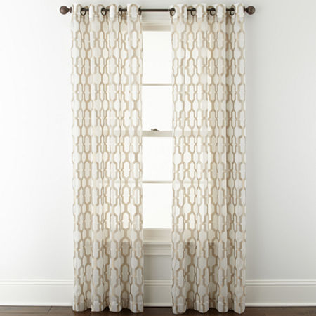 JCPenney Home Casey Sheer Grommet-Top Curtain Panel, One Size , Beige