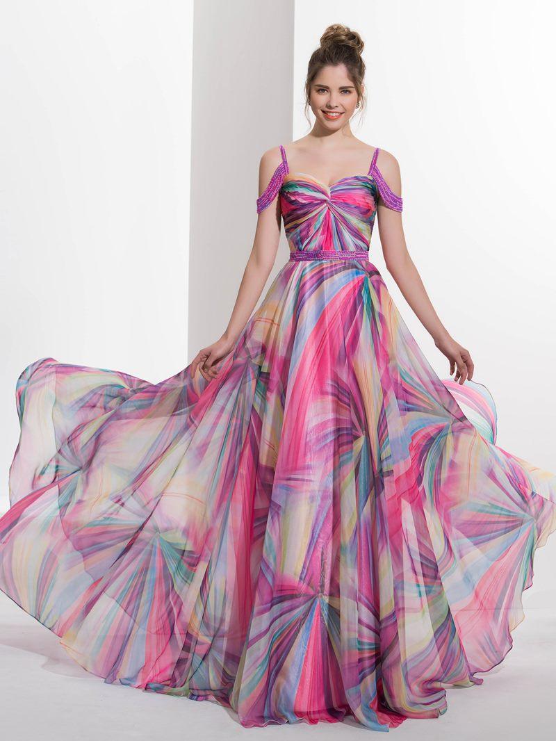 Ericdress A-Line Spaghetti Straps Beading Court Train Prom Dress