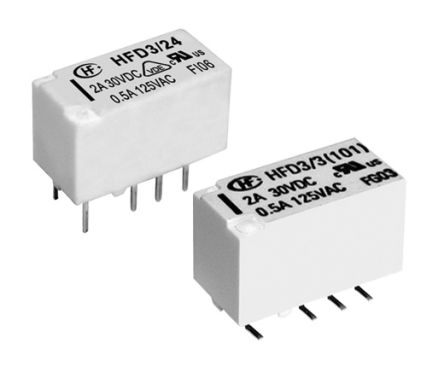 Hongfa Europe GMBH , 5V dc Coil Non-Latching Relay DPDT, 4A Switching Current PCB Mount, 2 Pole (40)