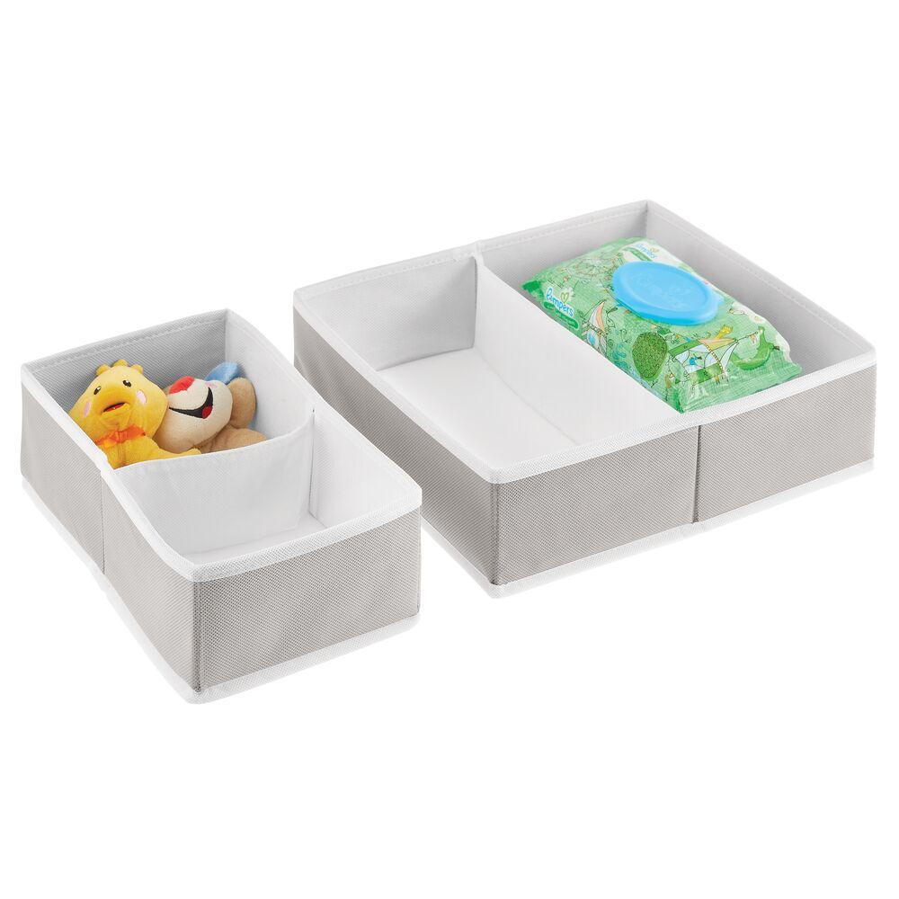 Fabric Dresser Drawer Storage Organizer in Light Gray/White, 7.5 x 11.75 x 4.1, by mDesign