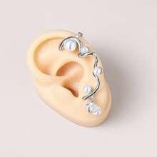 Faux Pearl Zircon Ear Climber