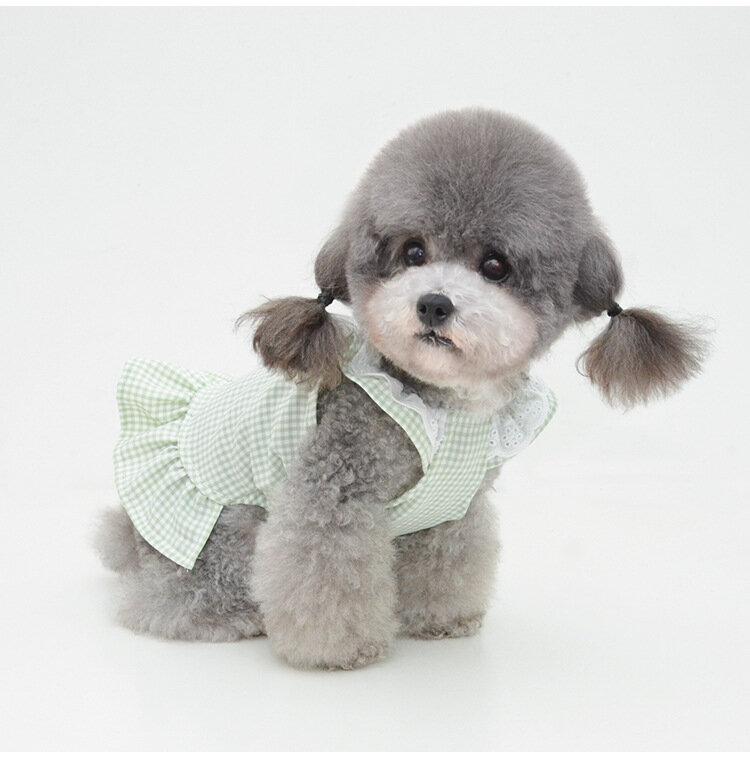 Plaid Pattern Pet Skirt Ruffle Skirt Shirt Spring And Summer Puppy Dog Cat Clothes