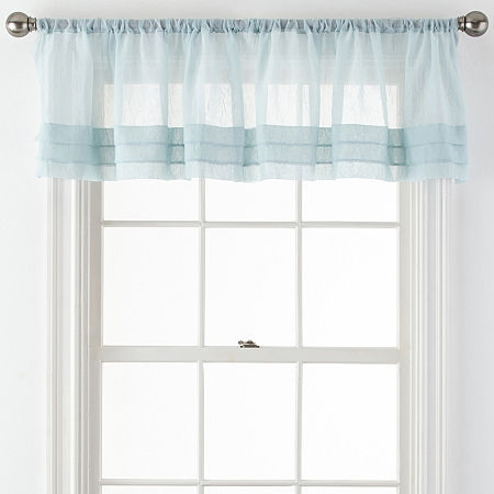 Home Expressions Crushed Voile Rod-Pocket Tailored Valance, One Size , Blue