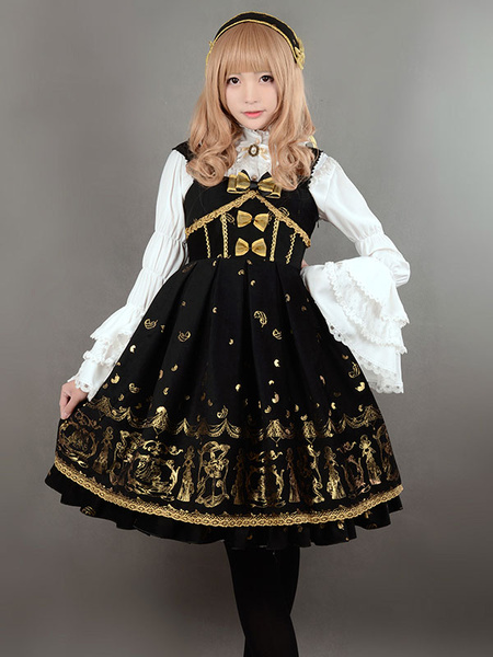Milanoo Gothic Lolita Jumper Dress JSK Black Printed Lace Up Velvet Lolita Jumper Skirt Original Design