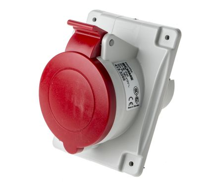 RS PRO IP44 Red Panel Mount 3P+E Heavy Duty Power Connector Socket, Rated At 32.0A, 415.0 V