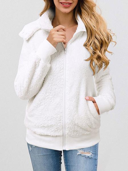 Milanoo Faux Fur Coats Long Sleeves Casual Faux Fur Jacket Layered Turndown Collar Leopard Women Coat
