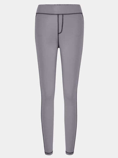 Yoins Stitching Design Bodycon fit Elastic Trousers in Grey