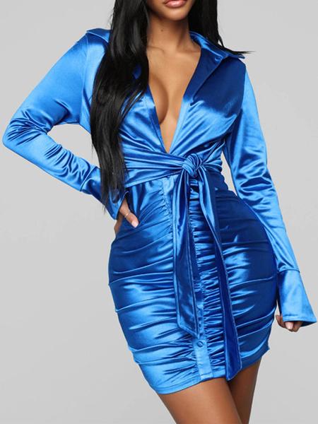 Milanoo Ruched Bodycon Dresses Satin Like Long Sleeves Midi Dress