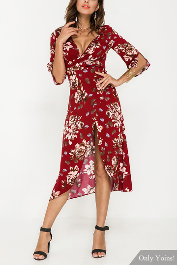 Yoins Plunge Split Sleeves Wrap Front Floral Print Maxi Dress with Belt