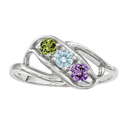 Personalized 14K Gold Cubic Zirconia Birthstone Family Ring, 5 , White