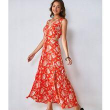 Cut Out Waist M-slit Hem Floral Print Dress