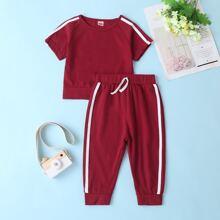 Baby Girl Side Stripe Tracksuit Set