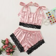 Knot Straps Lace Trim Satin Top & Shorts Night Set