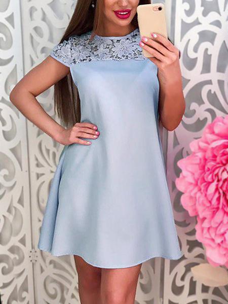 Yoins Light Blue Lace Trim Self-tie Waist Short Sleeves A Line Dress