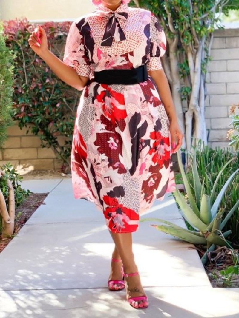 Ericdress Print Short Sleeve Print Mid-Calf Floral Mid Waist Dress(Without Waistband)