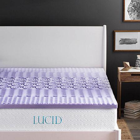 Lucid 2 Inch 5-Zoned Lavender Memory Foam Mattress Topper, One Size , Purple