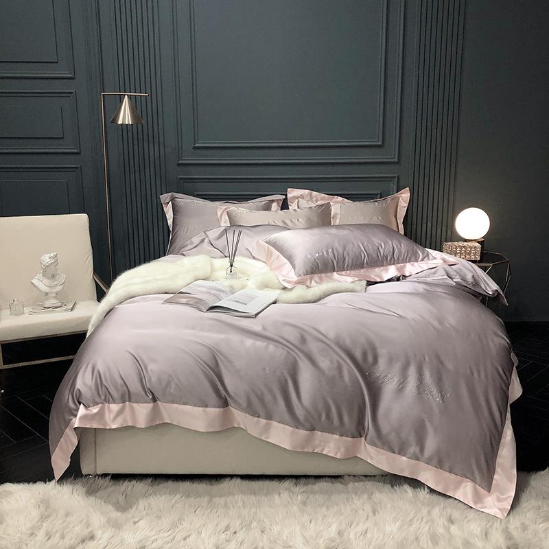 Minimalism Diamond Ironing Pure Color100% Cotton 80-piece Long Staple Four-Piece Set Cotton Satins Four-Piece Set 1.8m Bedding