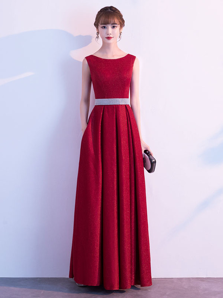 Milanoo Evening Dress A Line Jewel Neck Floor Length Sleeveless Zipper Sash Sequined Social Party Dresses